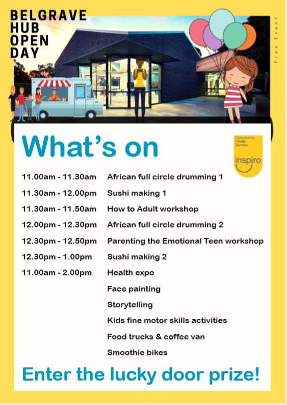 Belgrave Hub open day event times