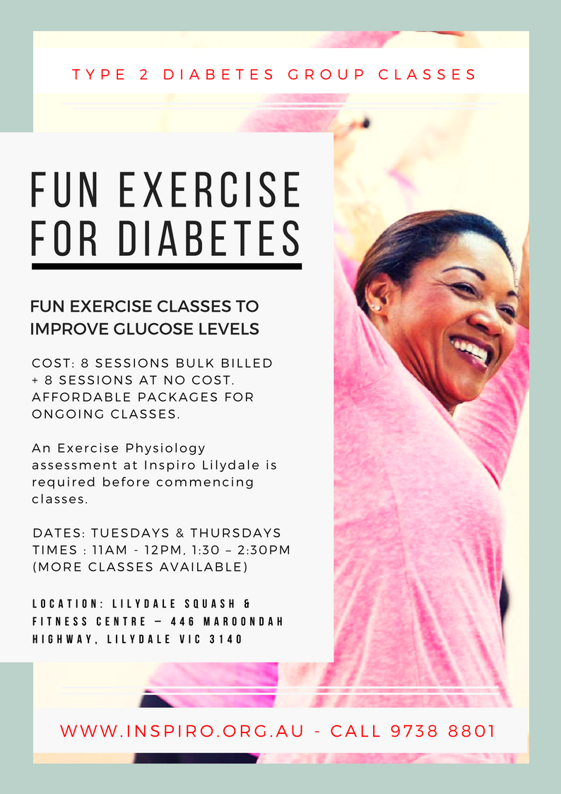 Fun Exercise for diabetes group classes Inspiro Lilydale