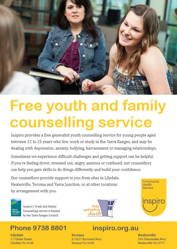 Free Youth, young adult and family counselling service Lilydale Belgrave