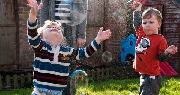 Chasing and popping bubbles is great for hand eye coordination.