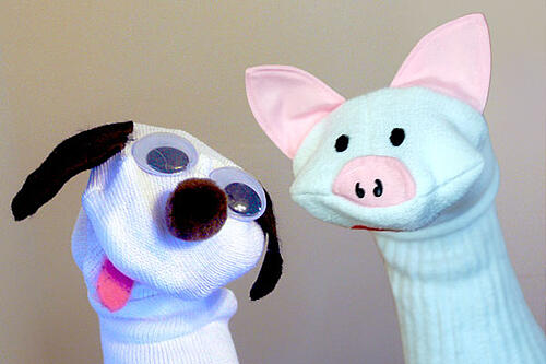 Use your old socks to make sock puppets