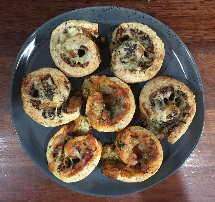 Cheesy vegemite and pizza scrolls out for lunch