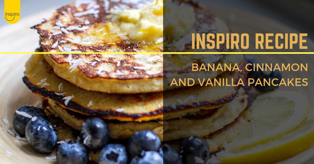 Banana, vanilla and cinnamon healthy pancakes recipe
