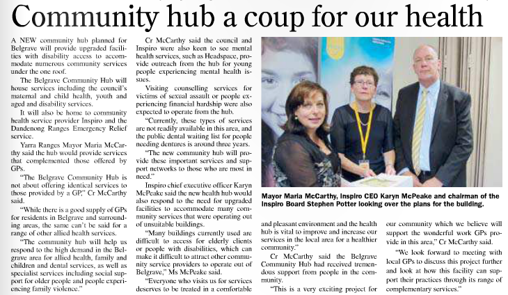 Community hub a coup for our health