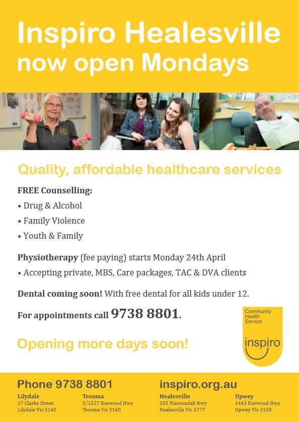 Inspiro Healesville is now open for physiotherapy and counselling