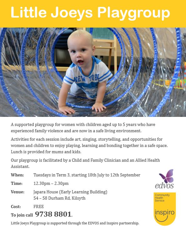 Little Joey's Playgroup is a playgroup for women with children who have experienced family violence