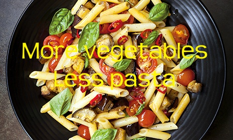 for a healthier meal reduce the pasta