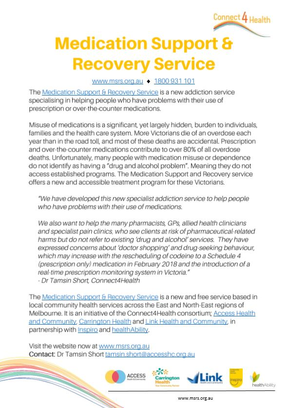 New service to help with medication support and recovery