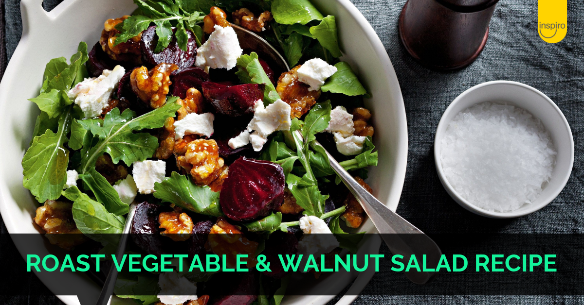 Roast Vegetable & Walnut Salad dietitian recipe