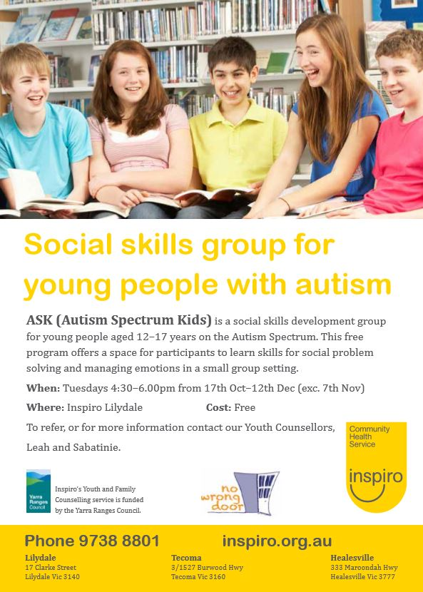 Social skills group in Lilydale for youth and teens with autism
