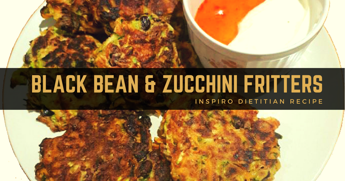 Mexican inspired black bean and zucchini fritters from dietitian Liam